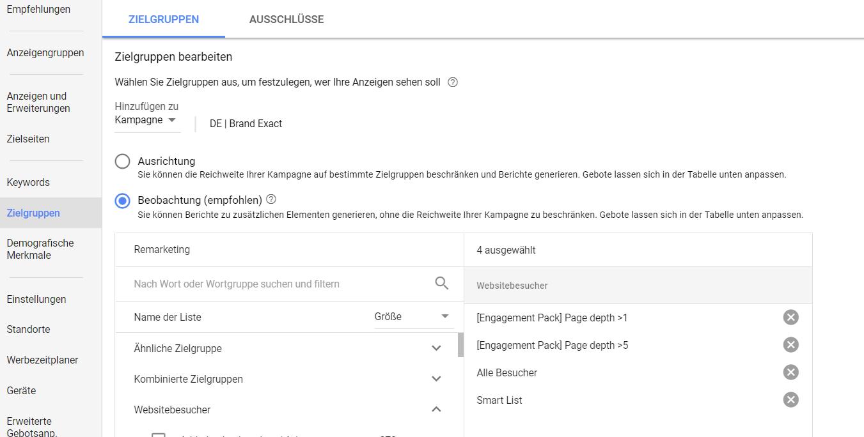Zielgruppen Einstellungen Google AdWords